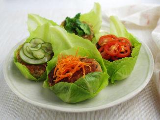 Soy Veggie Burgers in a Lettuce Wrap