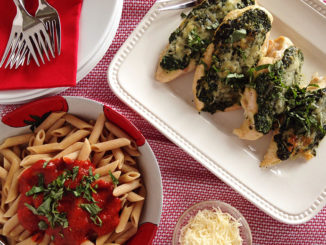 Baked Chicken Breasts with Spinach Pesto and Parmesan