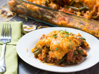 Cheesy Sweet Potato Shepherd's Pie with Mushroom-Onion Gravy