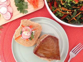 Tuna Steak Sandwiches with Honey and Sriracha Glaze & Cilantro Mayo