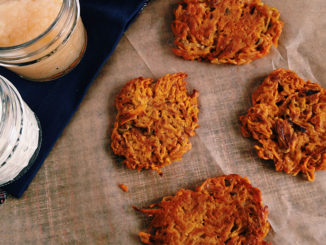 Sweet Potato Latkes with Leeks and Sage