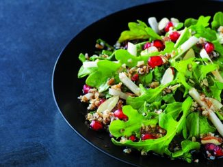 Warm Arugula and Bulgur Salad with Black Radish and Pomegranate Seeds