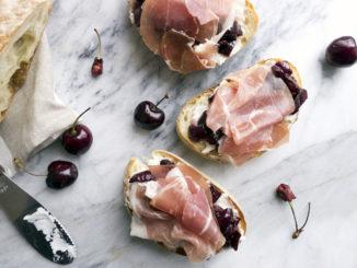 Cherry Sauce Prosciutto Crostini