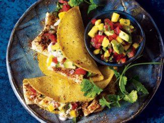 Fiery Fish Tacos with Jalapeño-Mango Salsa