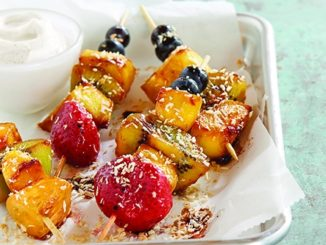 Chocolate Balsamic Fruit Kabobs with Coconut-Lime Dipping Sauce