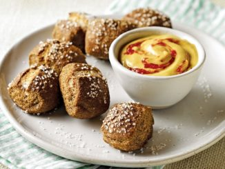 Whole-Wheat Pretzel Bites with Asian-Style Honey Mustard Dipping Sauce