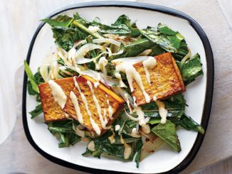 Dandelion Tea Baked Tofu with Sautéed Dandelion Greens and Maple-Tahini Dressing