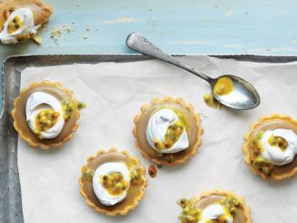 Passion Fruit Tart with Dandelion-Infused Vanilla Custard and Coconut Whipped Topping