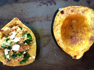 Spicy Sausage and Goat Cheese Farro Stuffed Acorn Squash