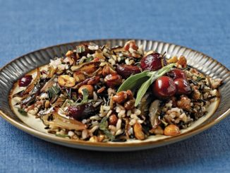 Wild Rice with Roasted Grapes, Maple Hazelnuts and Sage