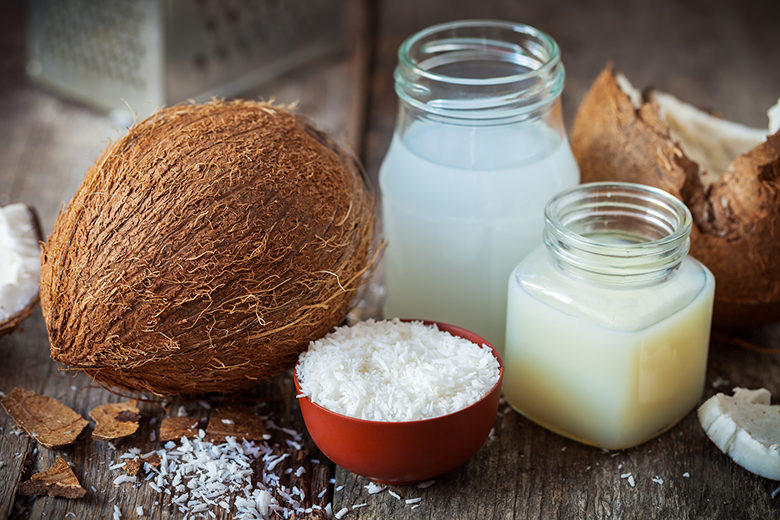 Coconut oil and milk, grounded coconut flakes and coco nut