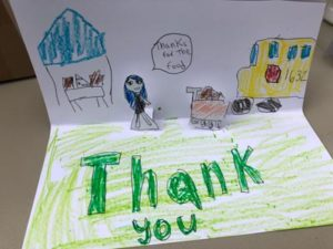Thank-you card received by Austin Independent School District's Nutrition and Food Services