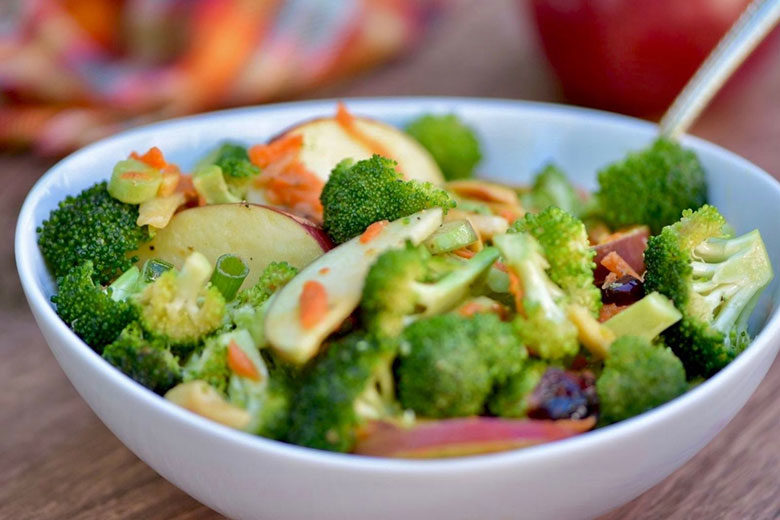 Broccoli Crunch Salad with Apples and Almonds - Food & Nutrition Magazine - Stone Soup