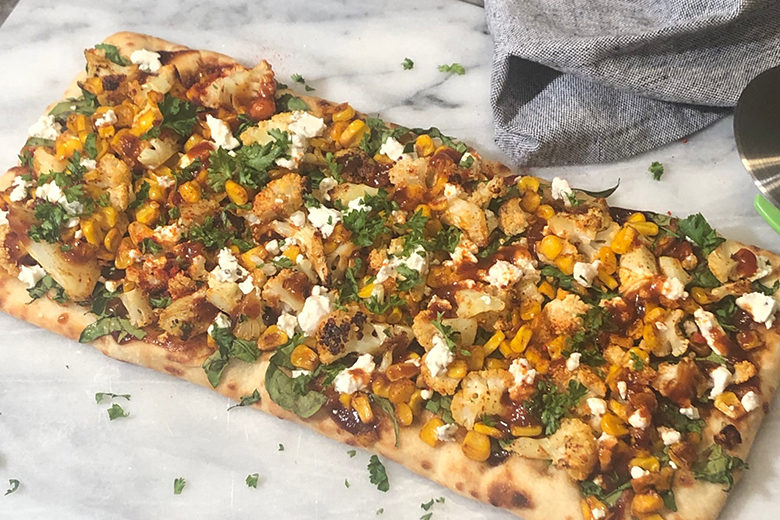 Roasted Corn and Cauliflower BBQ Flatbread - Food & Nutrition Magazine - Stone Soup