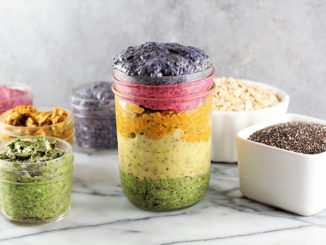 Rainbow Overnight Chia Oats in Mason jars