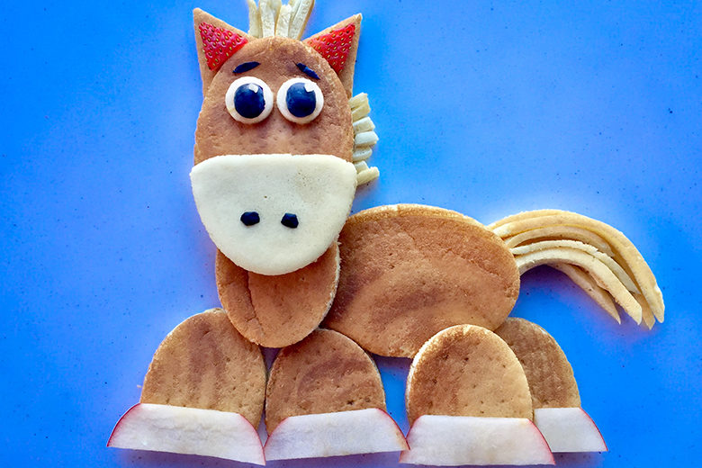 Food art pony made with pancakes and fruit