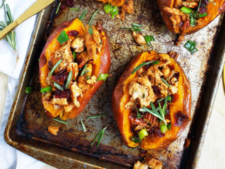 Cranberry Pecan Chicken Stuffed Sweet Potatoes - Food & Nutrition Magazine - Stone Soup