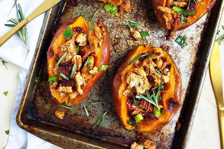 Cranberry Pecan Chicken Stuffed Sweet Potatoes - Food & Nutrition Magazine - Stone Soup