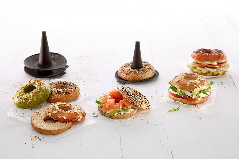 Bagel sandwiches and product Lékué Bagels x6