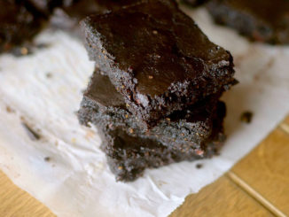 Gooey Flourless Avocado Brownies stacked three high