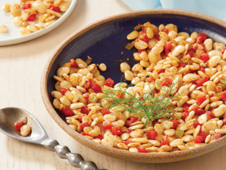 Plate of Greek-style lima beans