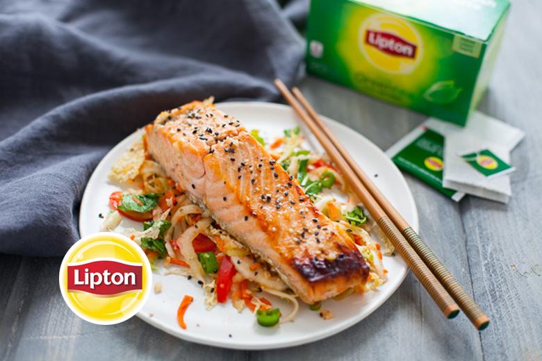 Green Tea Marinated Salmon with Sesame Miso Slaw - Food ...