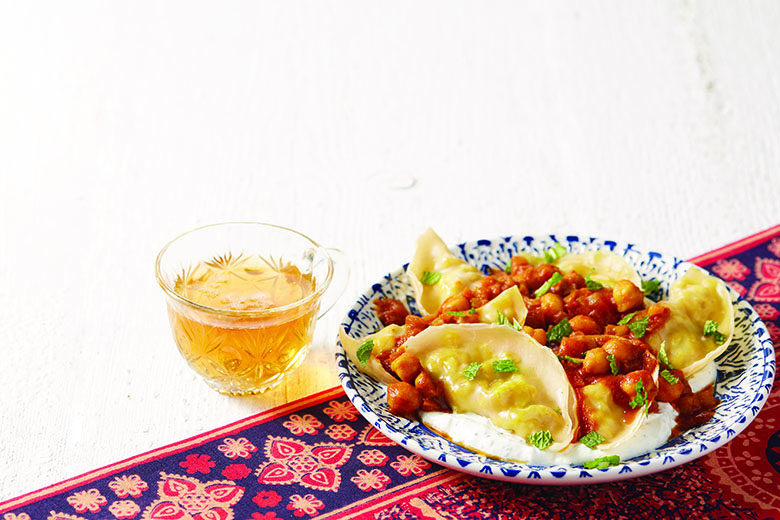 Chicken Dumplings with Chickpea-Tomato Sauce | Food & Nutrition Magazine | Volume 9, Issue 2