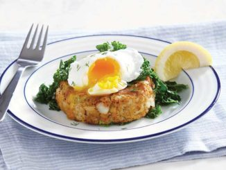 Code Cakes with Poached Egg and Wilted Kale