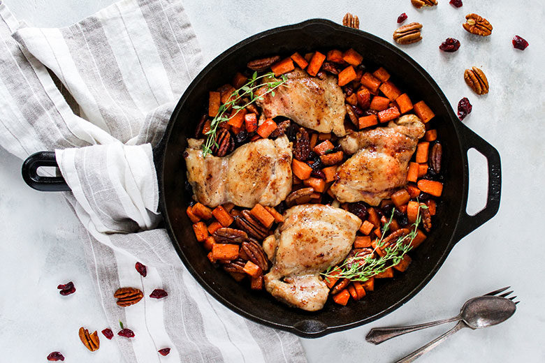 Maple Glazed Cranberry Pecan Skillet Chicken - Food & Nutrition Magazine - Stone Soup