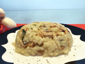 Mushroom, Spinach and Cheese Risotto molded on a plate