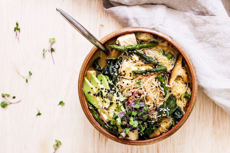 One-Pot Asparagus Chard Ramen Bowl
