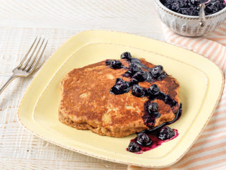 Whole-wheat Pineapple Pancakes with Blueberry Compote