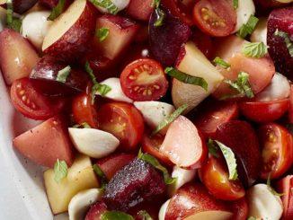Plum Caprese with White Balsamic Vinaigrette | Food & Nutrition Magazine | Volume 10, Issue 4