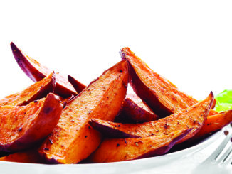 Portion of sweet potato wedges