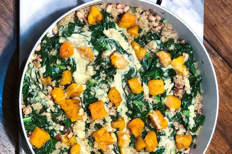 Hearty Vegetable and Quinoa Skillet with Lemon Tahini Dressing - Food & Nutrition Magazine - Stone Soup
