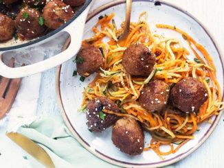 Sesame Turkey Meatballs with Veggie Noodles - Food & Nutrition Magazine - Stone Soup