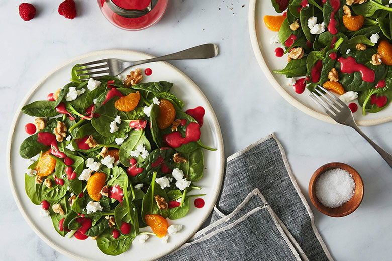 Spinach, Goat Cheese & Walnut Salad with Raspberry Vinaigrette - Food & Nutrition Magazine - Stone Soup
