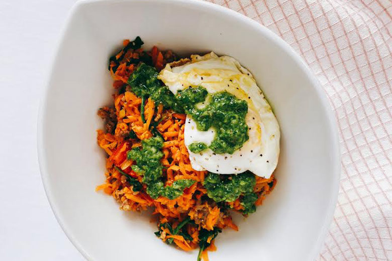 Sweet Potato and Carrot Breakfast Hash with Chimichurri - Food & Nutrition Magazine - Stone Soup
