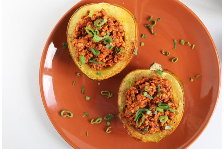 Smoky Tempeh Stuffed Acorn Squash - Food & Nutrition Magazine - Stone Soup