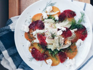Winter Salad with Yellow Beet, Blood Orange, Fennel and Chèvre