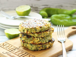 Baked Zucchini Fritters with Grilled Corn and Hatch Chiles - Food & Nutrition Magazine - Stone Soup