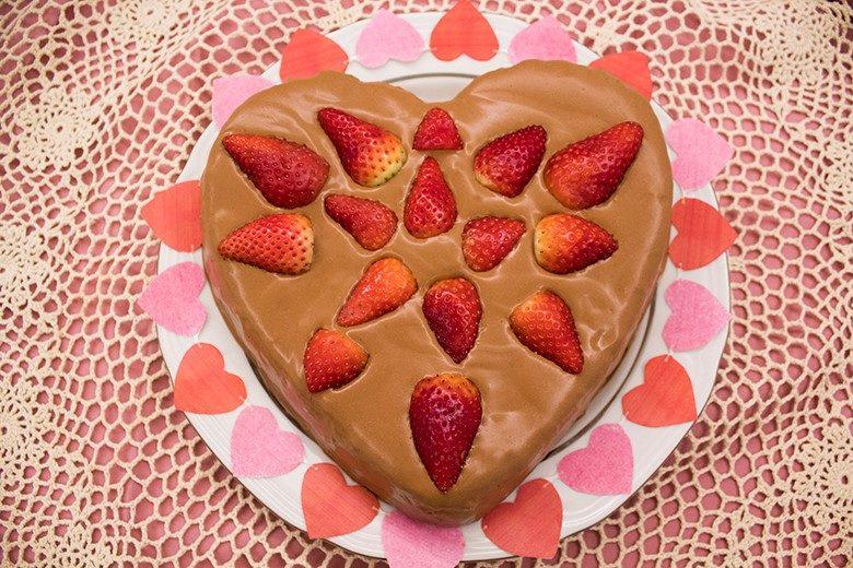 Strawberry Almond Flour Sponge Cake with Chocolate Frosting