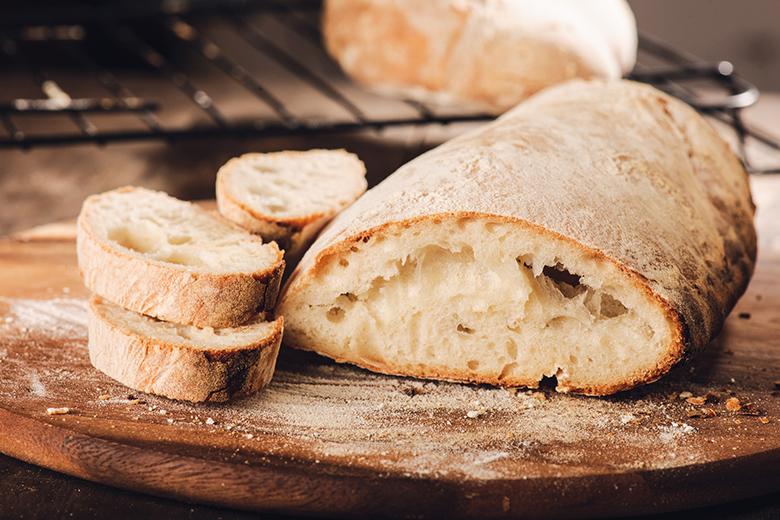 Fresh Italian bread on a cutboard
