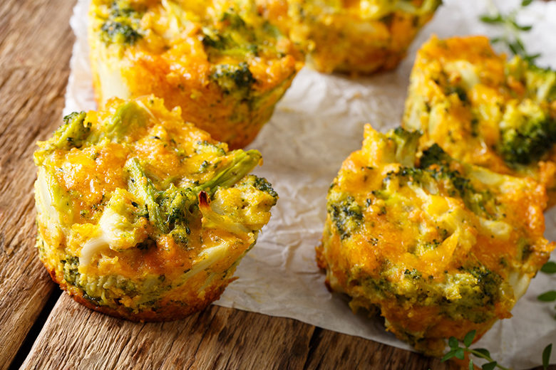 Healthy snack Broccoli muffins with cheddar cheese and thyme