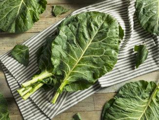 Raw Green Organic Collard Greens Ready to Cook