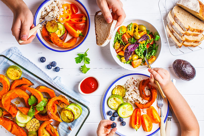 Colorful food from above