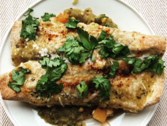 Spicy Green Butternut Squash Chickpea Enchiladas - Food & Nutrition Magazine - Stone Soup