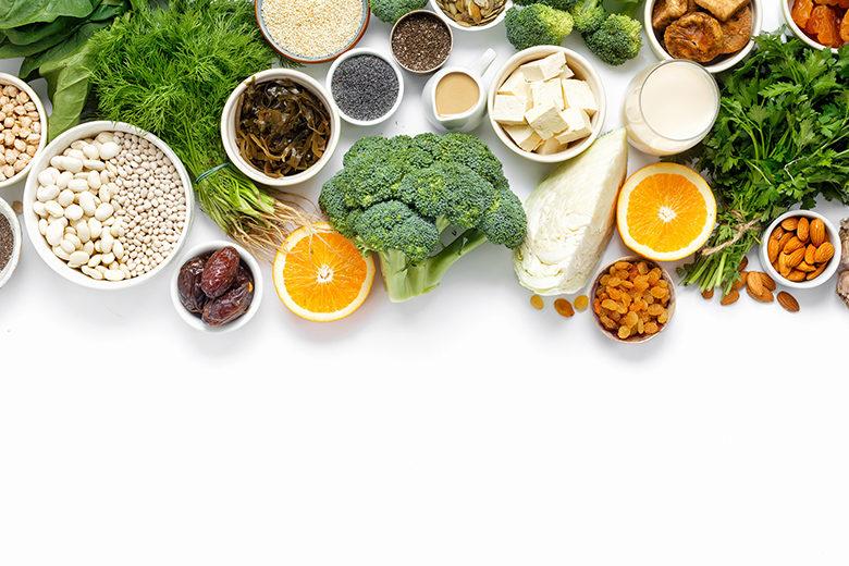 healthy food clean eating: fruit, vegetable, seeds,