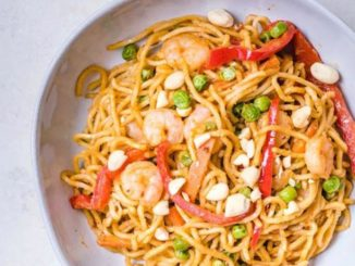 Thai-Style Peanut Sauce Noodles with Shrimp
