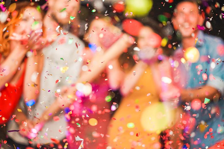 People celebrating - burred